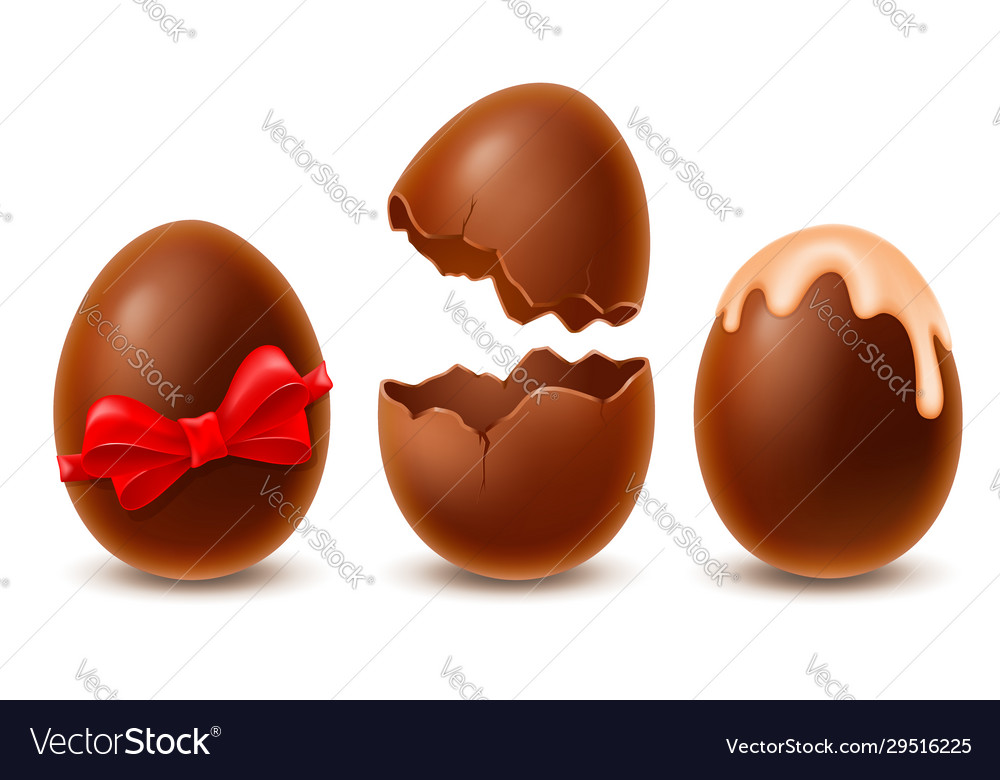 Chocolate easter eggs set broken whole decorated