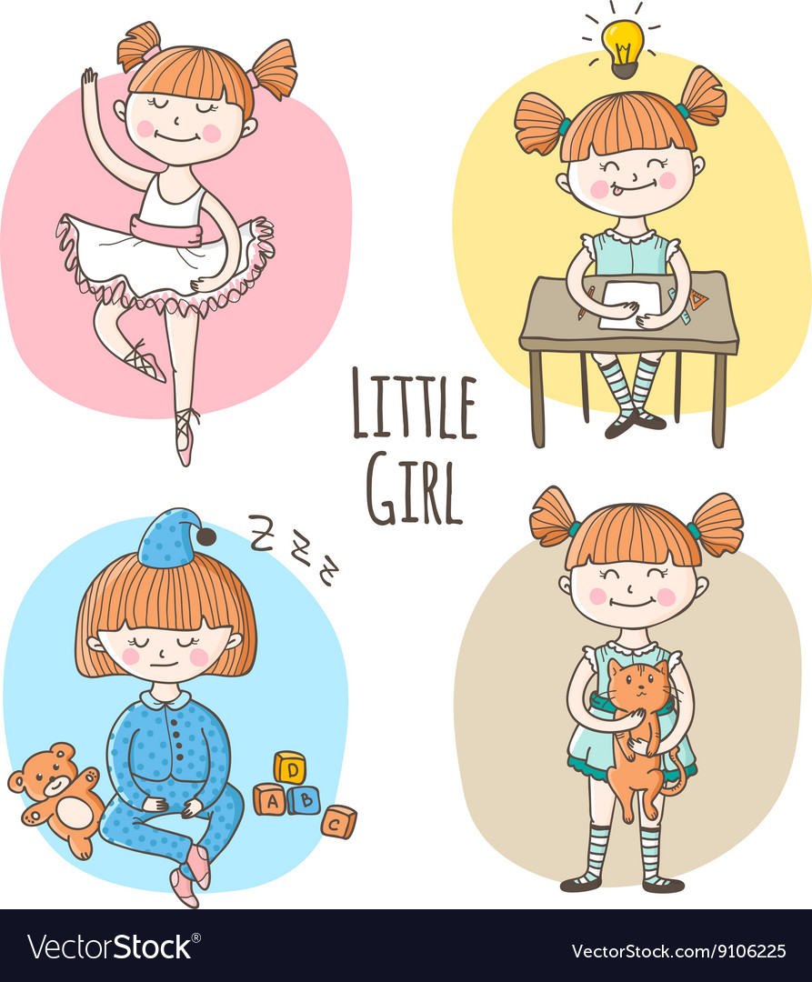 Collection of little girl in different