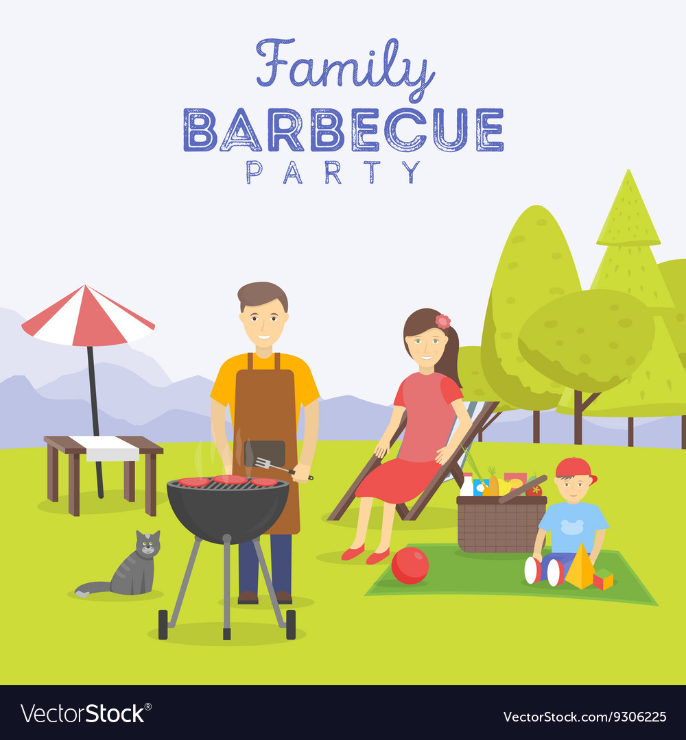 Family picnic Bbq party Food and barbeque