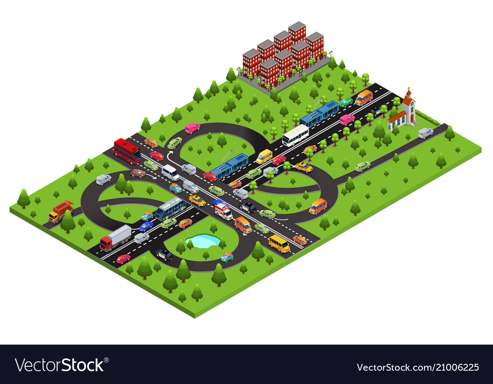 Isometric highway traffic template