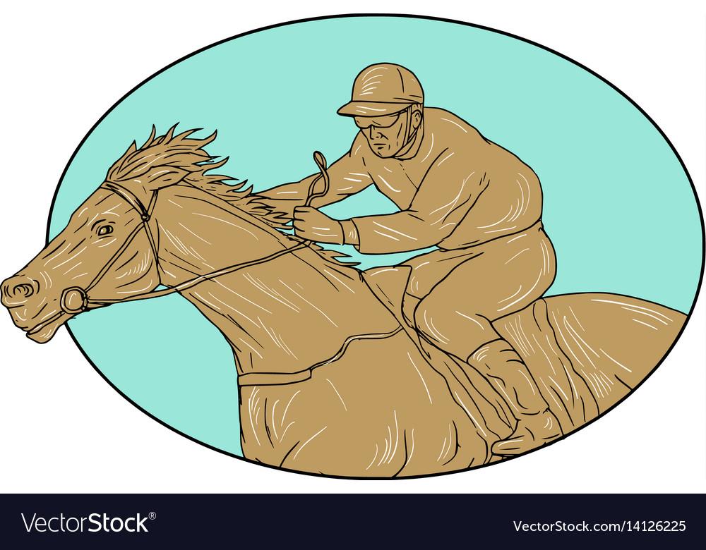Jockey horse racing oval drawing