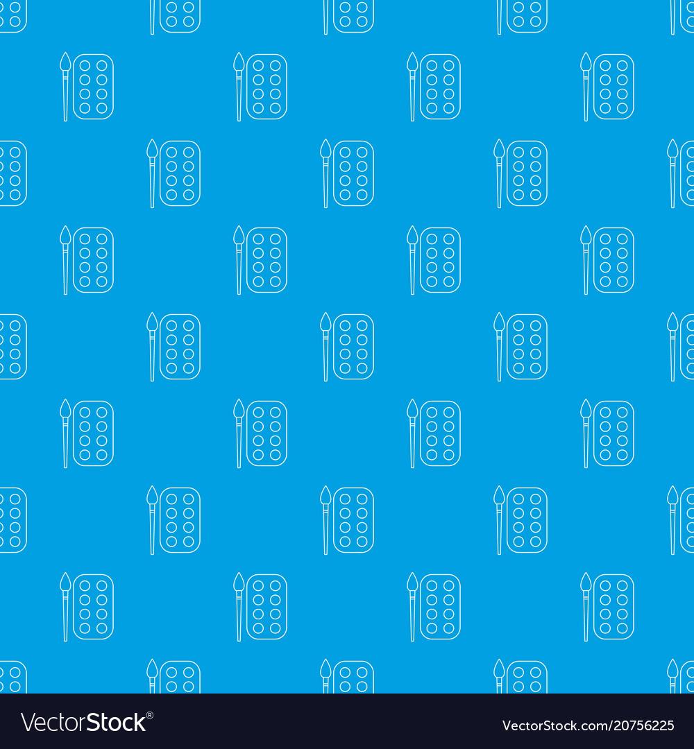 Paint brush palette pattern seamless blue