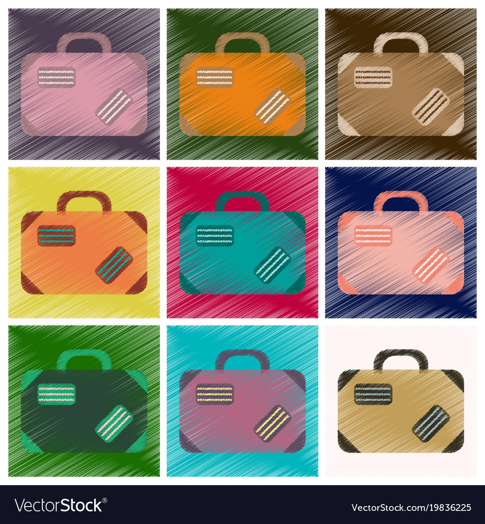 Set of flat icons in shading style suitcase vector image