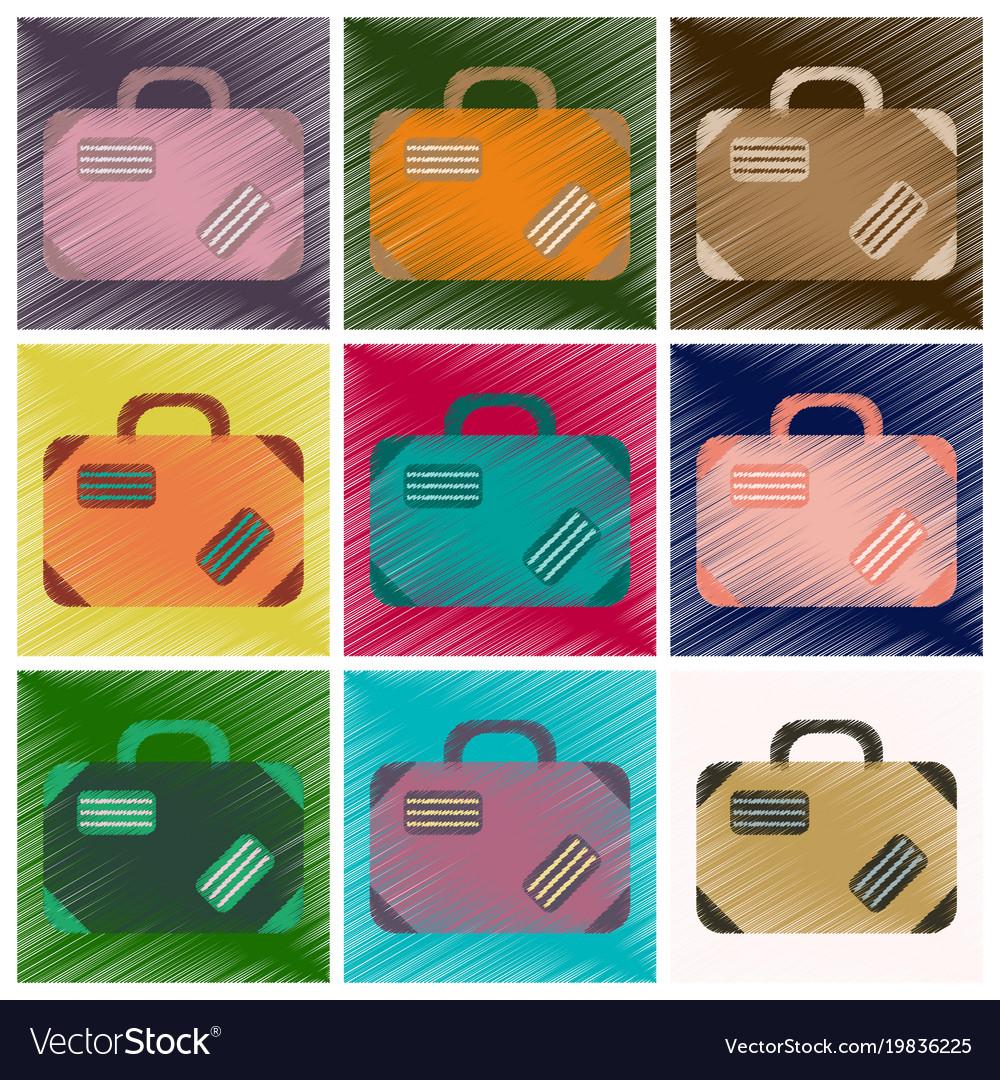 Set of flat icons in shading style suitcase