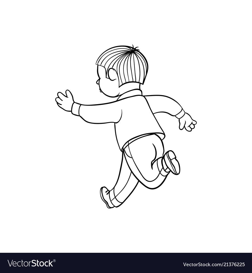 Sketch running boy ranaway kid