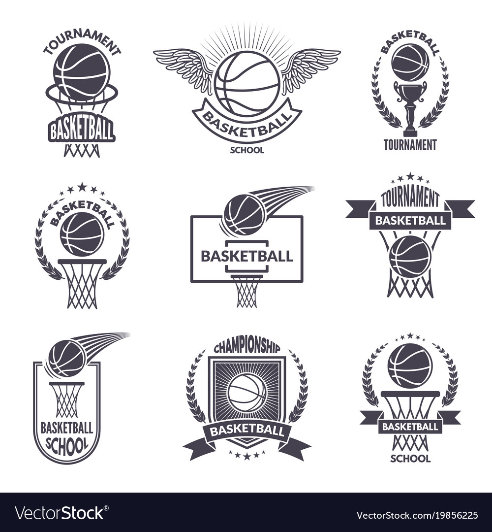 Sport labels for basketball club badges