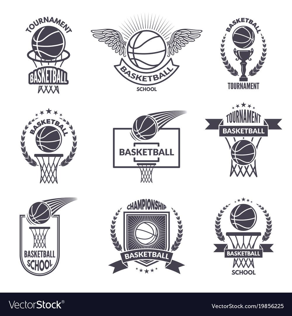 Sport labels for basketball club badges vector image