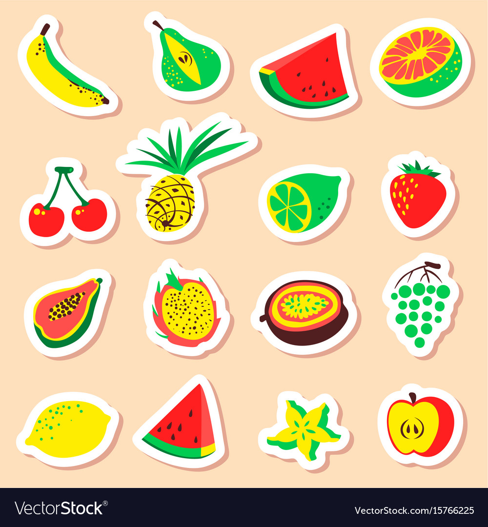Tropical exotic fruits stickers set cute fresh