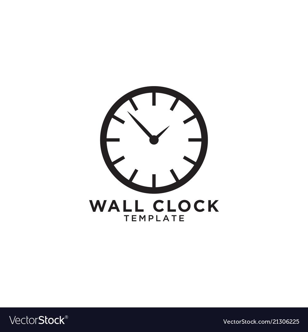 Wall clock logo design template Royalty Free Vector Image