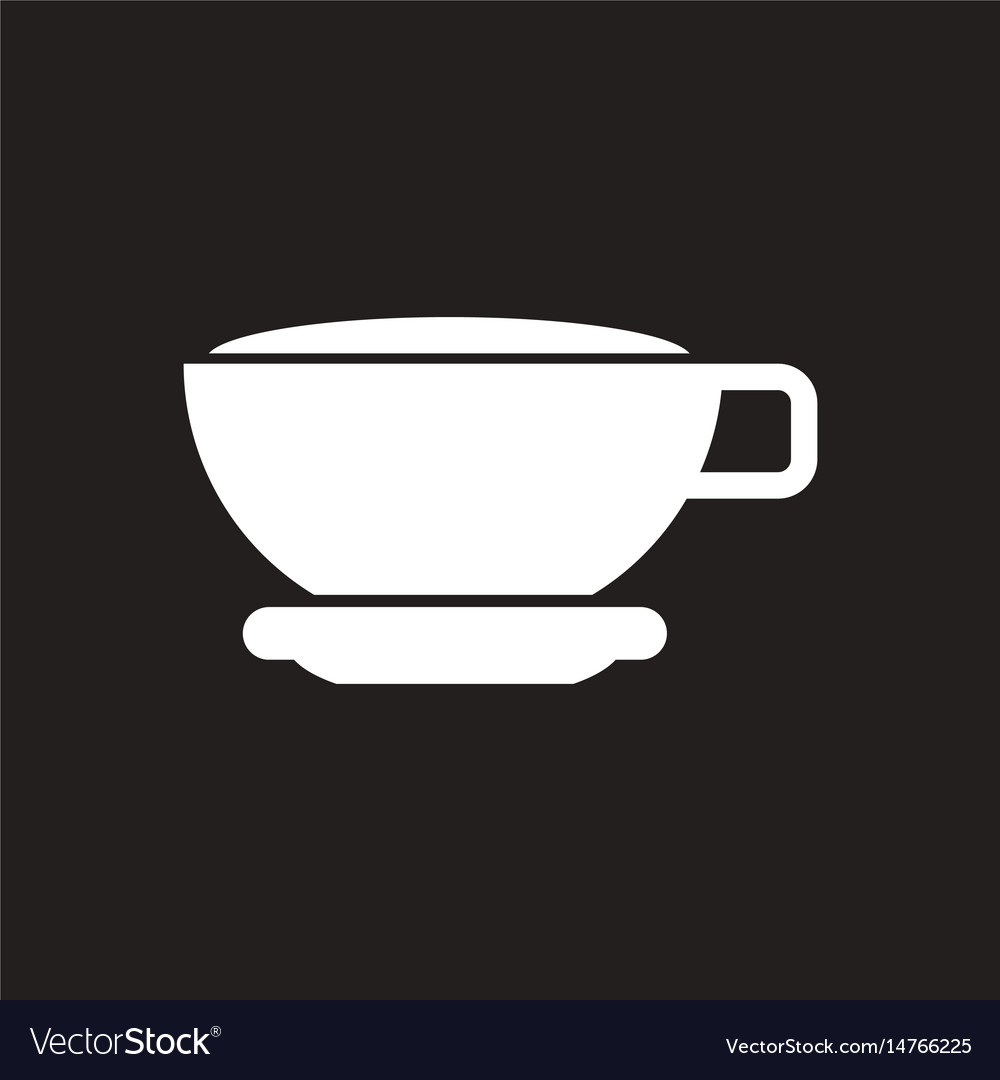 white icon on black background cup of tea vector image vectorstock