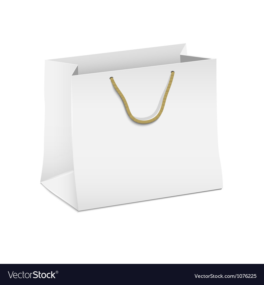 White shopping paper bag Royalty Free Vector ImageWhite Paper Bag Vector