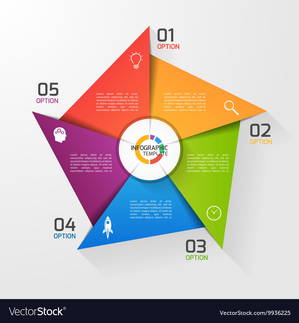 windmill style infographic template 5 options vector image