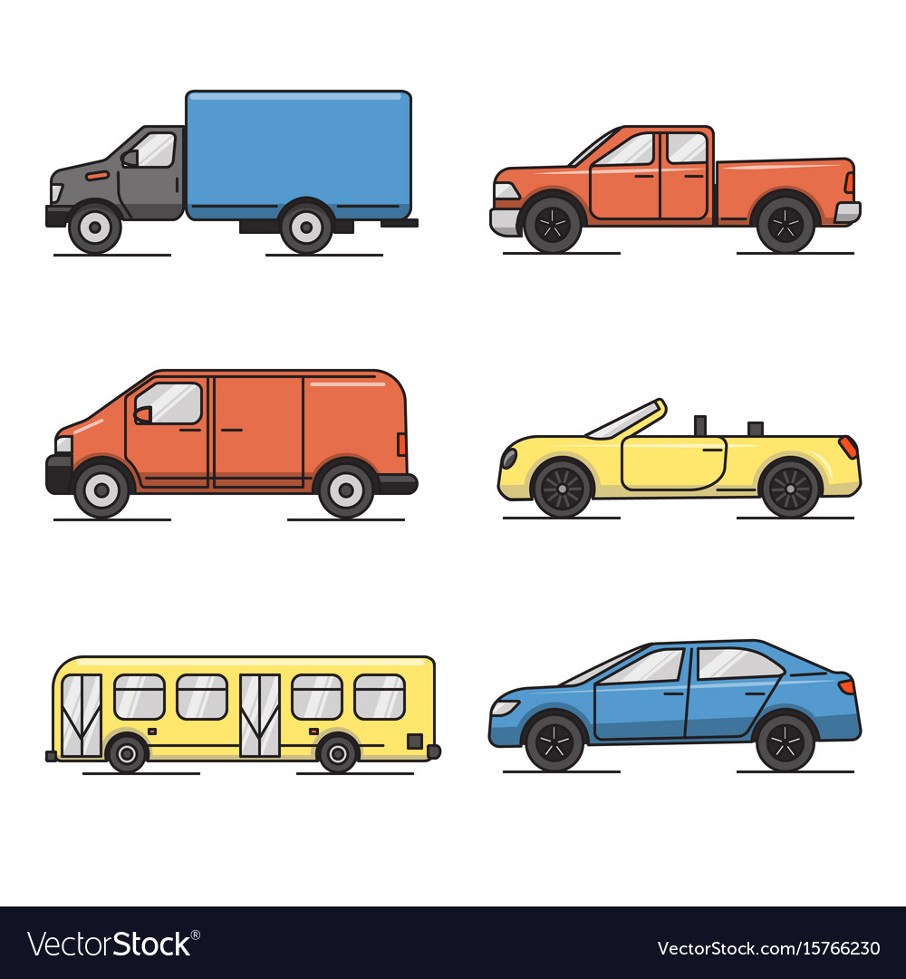 Collection of colored thin line transportation