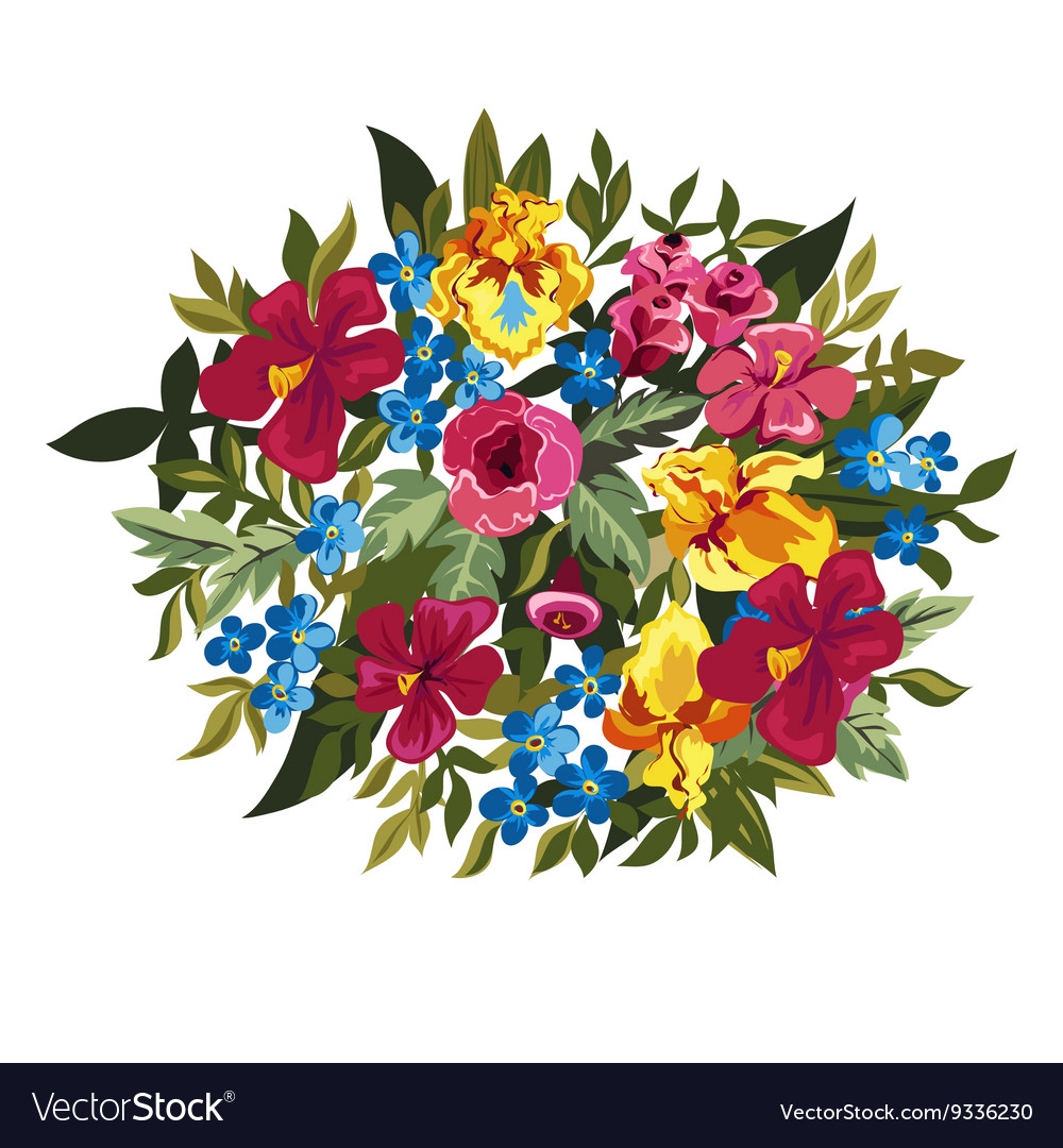 Colorful floral composition with leaves and