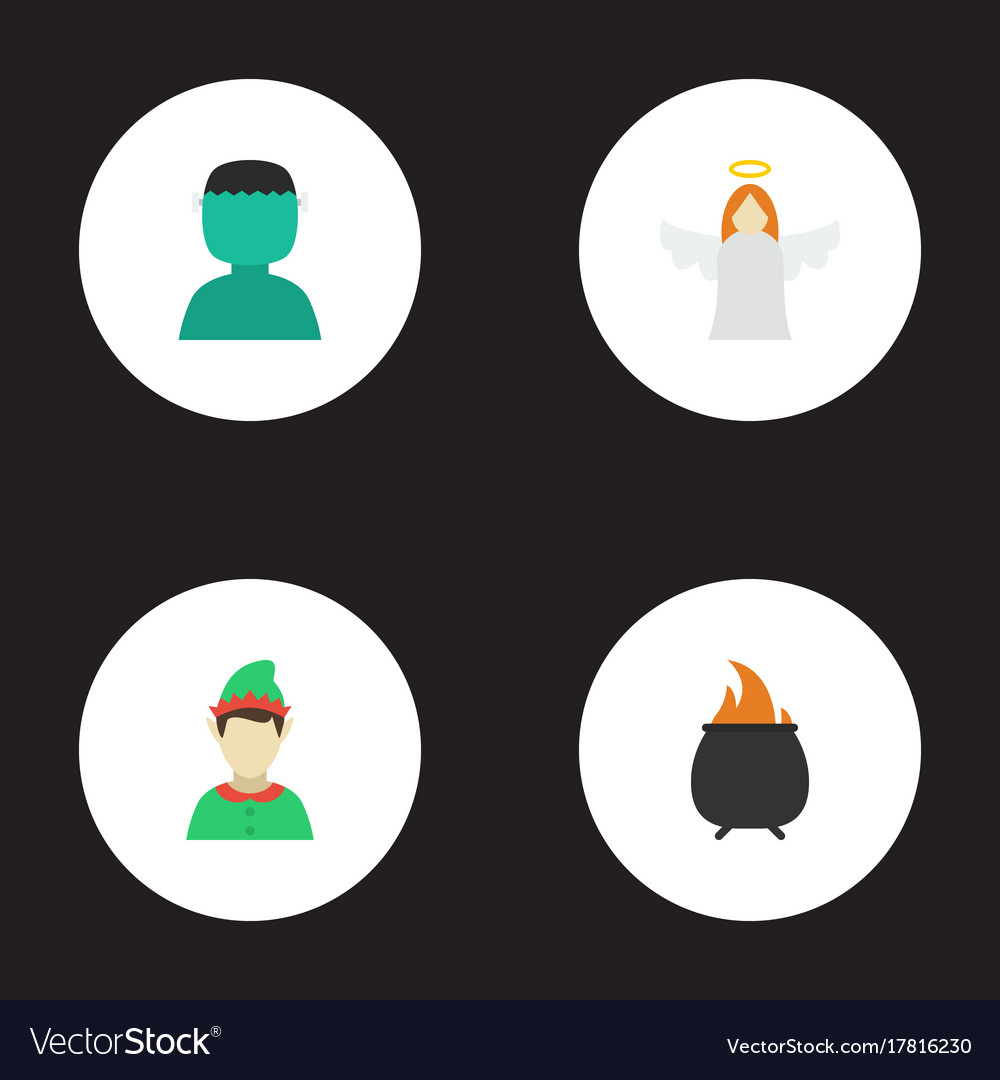 Flat Icons Halo Character Hell And Other Vector Image