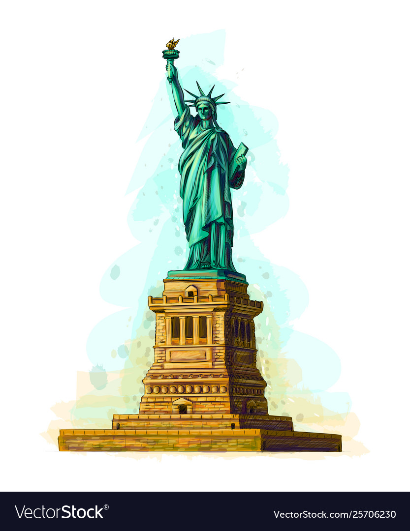 Hand drawn statue liberty design on a white