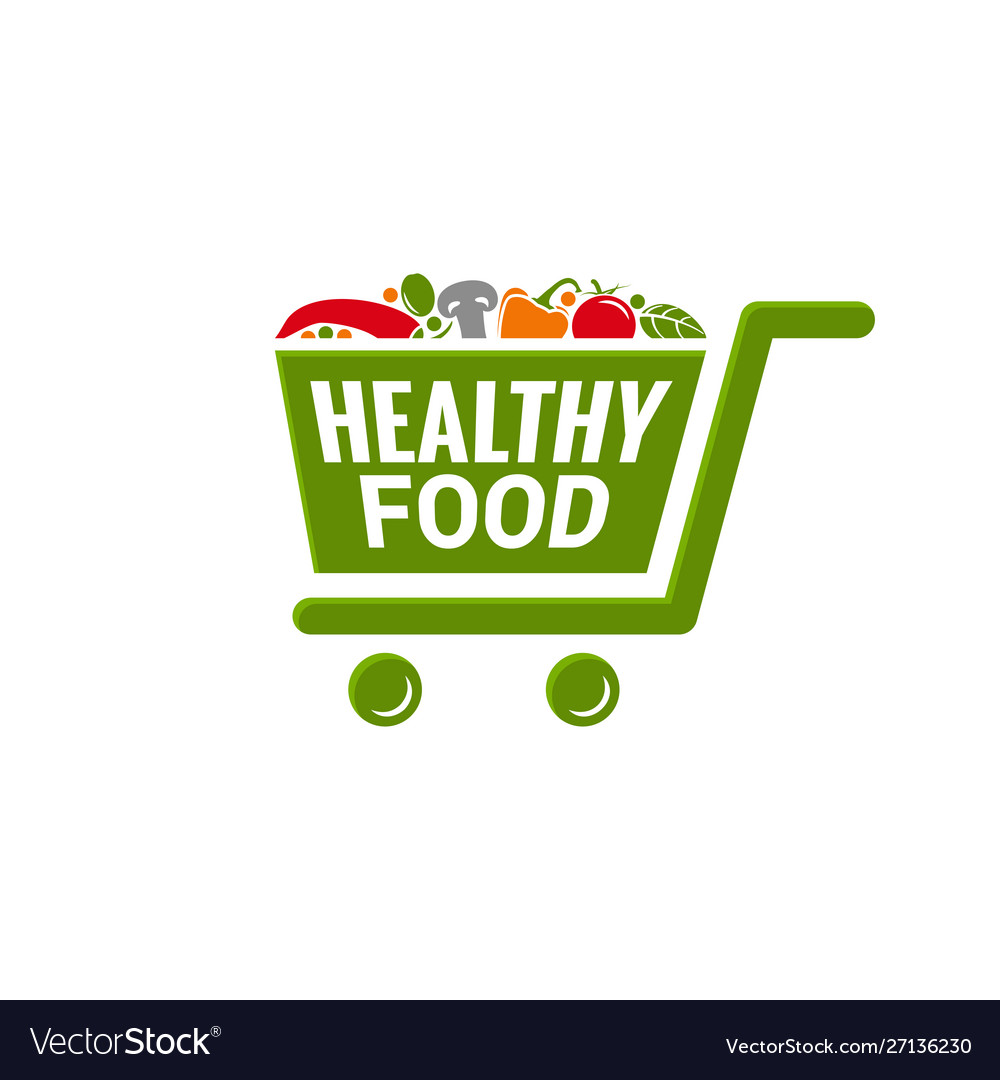 Healthy food logo shopping cart with vegetables