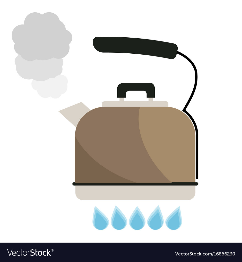 Kettle boils with water flat style vector image