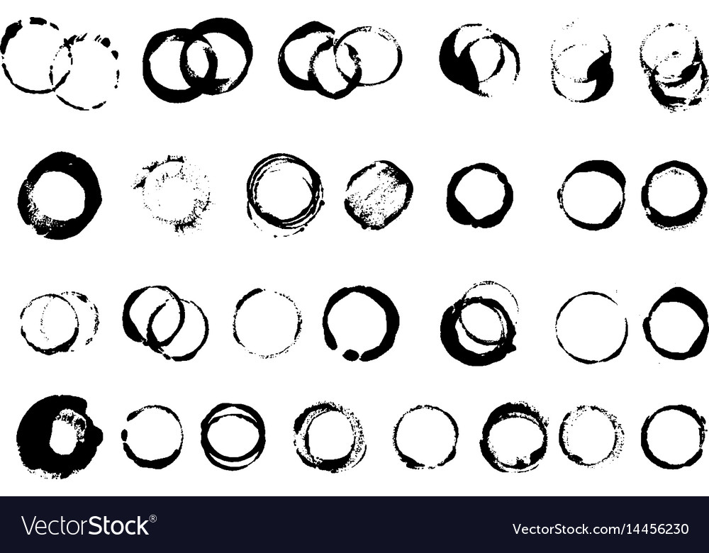 Prints from a circle cup ink brushes set vector image