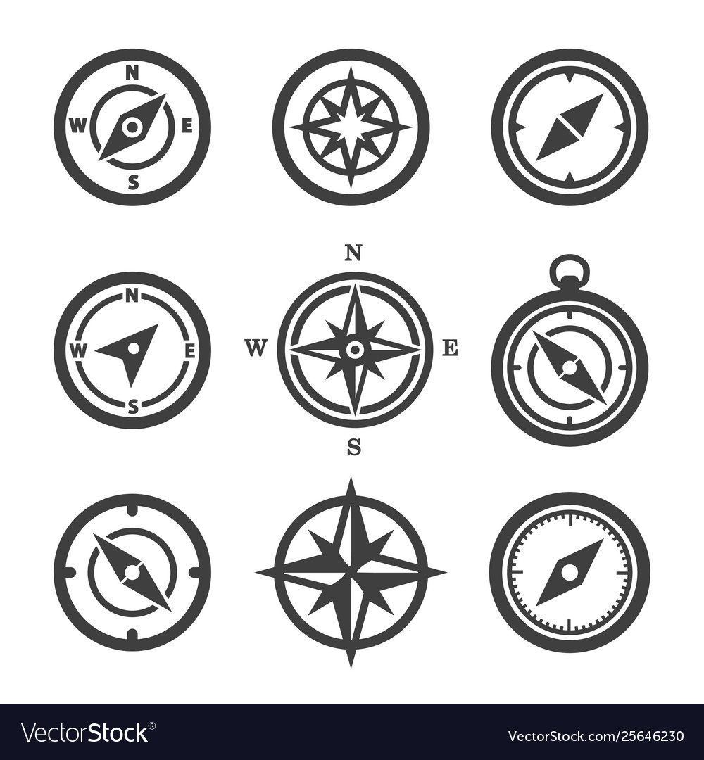 Set compass icons vector