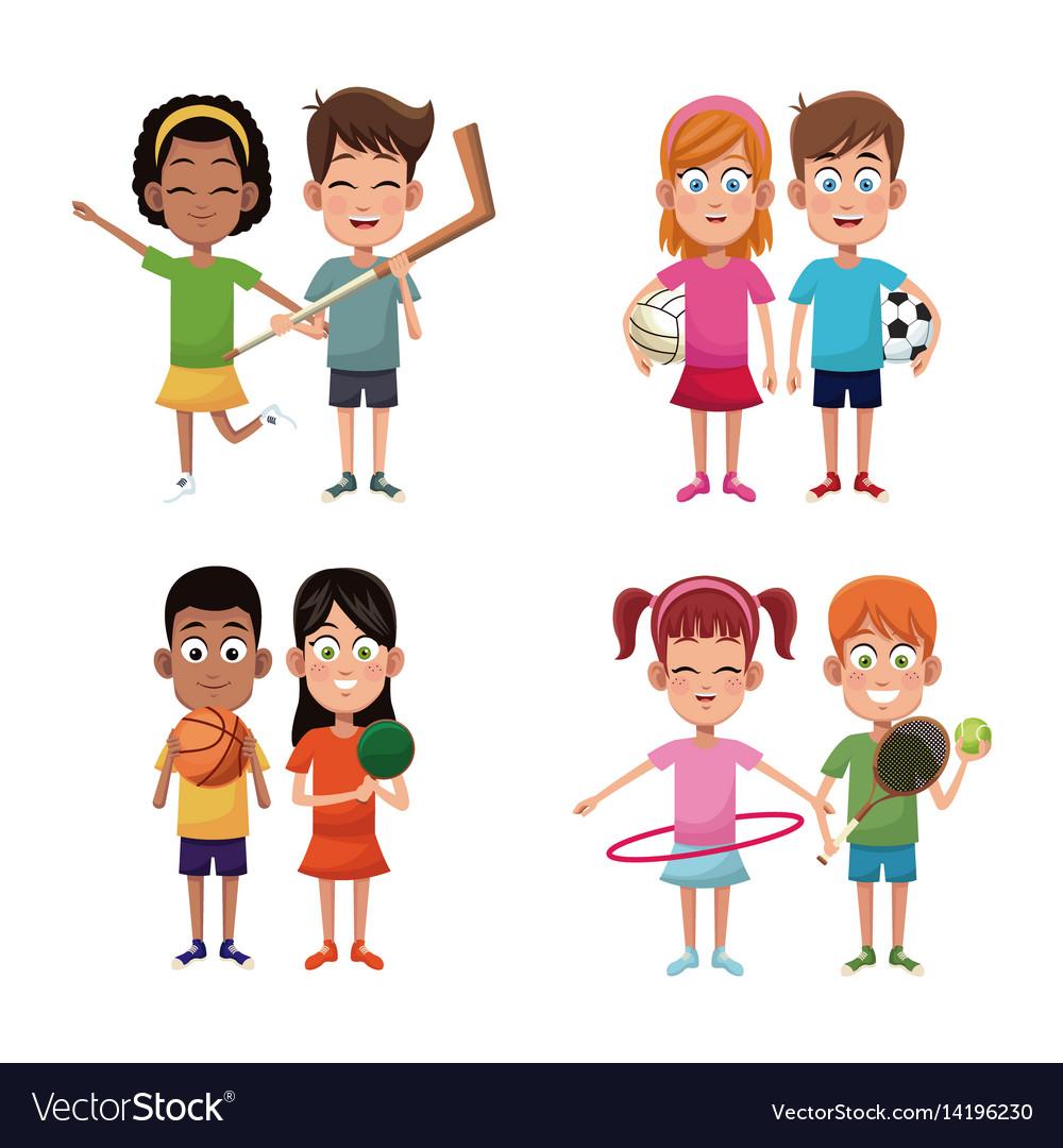 Set kids sport player image