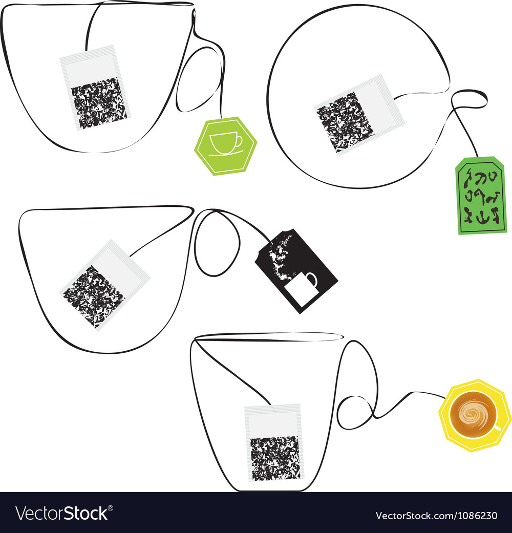 Various teabags stylized as a cup of tee