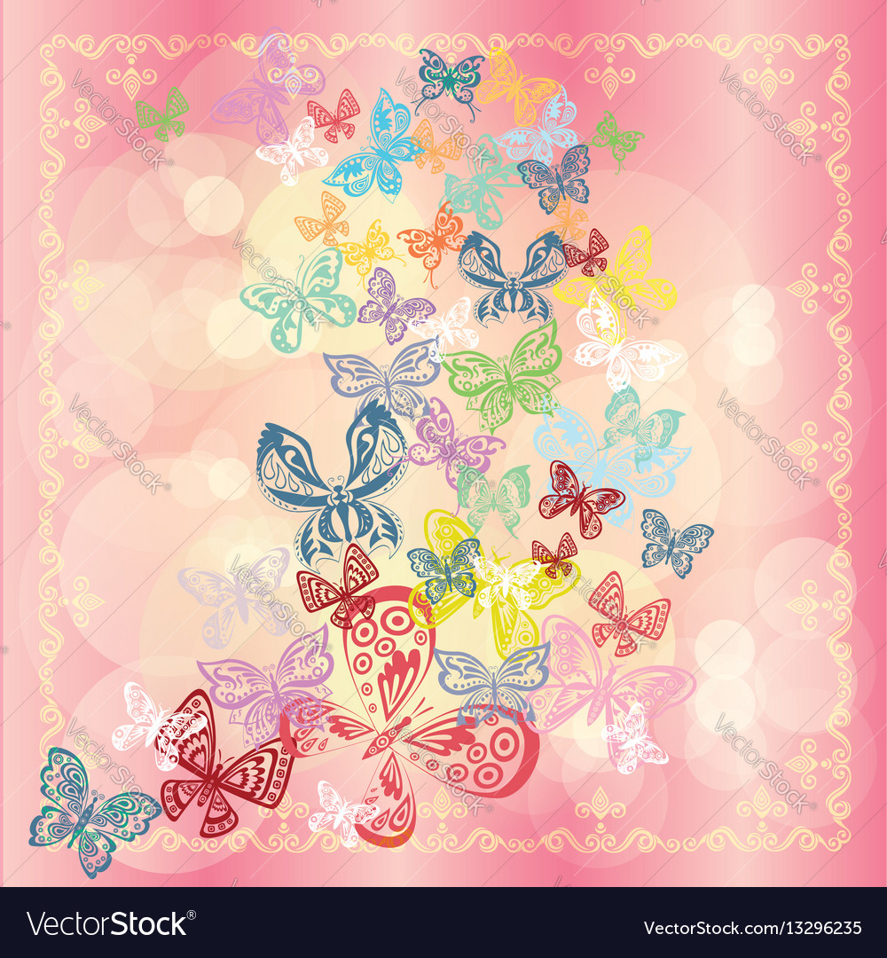 Butterfly set isolated on pink background