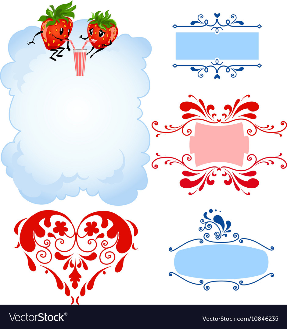 Cartoon strawberry and frames Royalty Free Vector Image