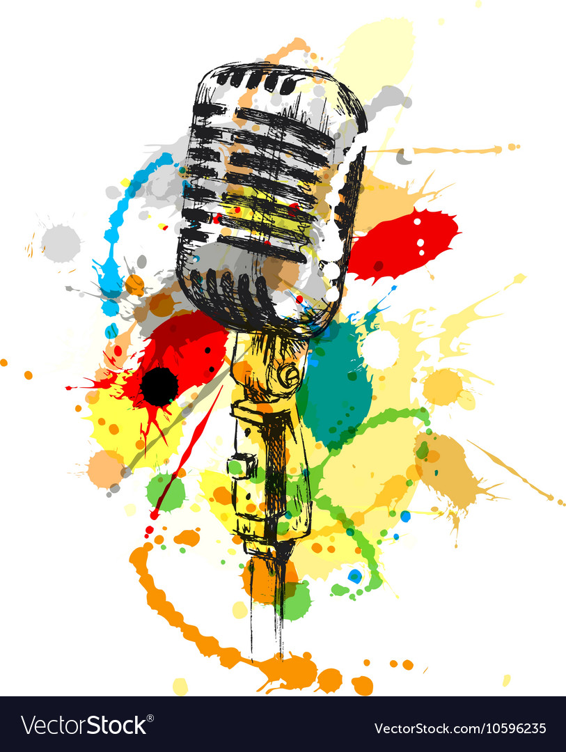 Colored hand sketch old microphone vector image