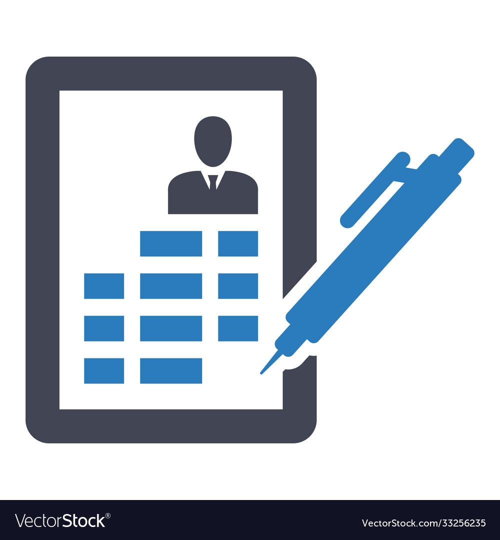 Cv resume job curriculum bio-data icon