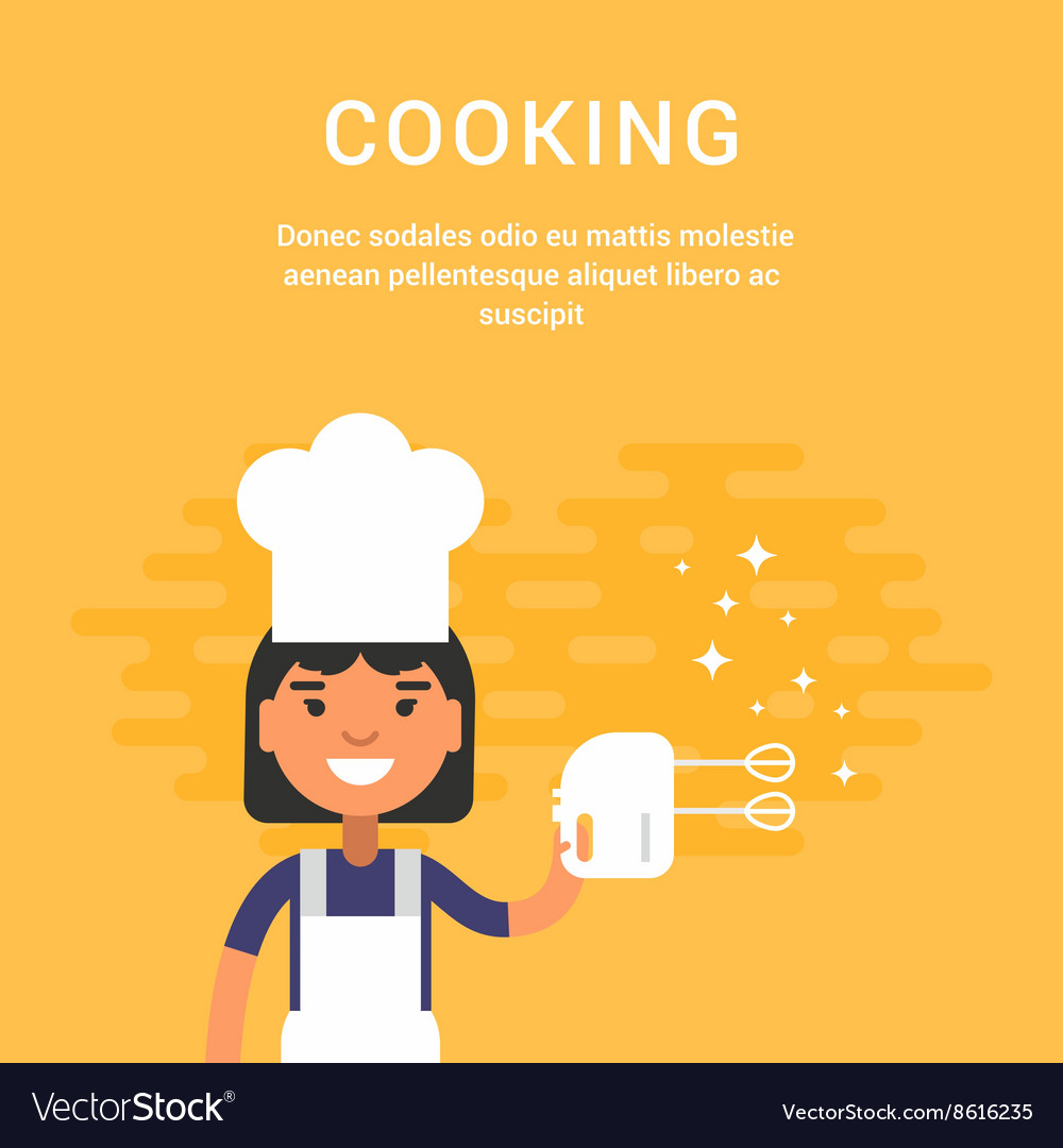 Female Cartoon Character Chief with Mixer Cooking vector image