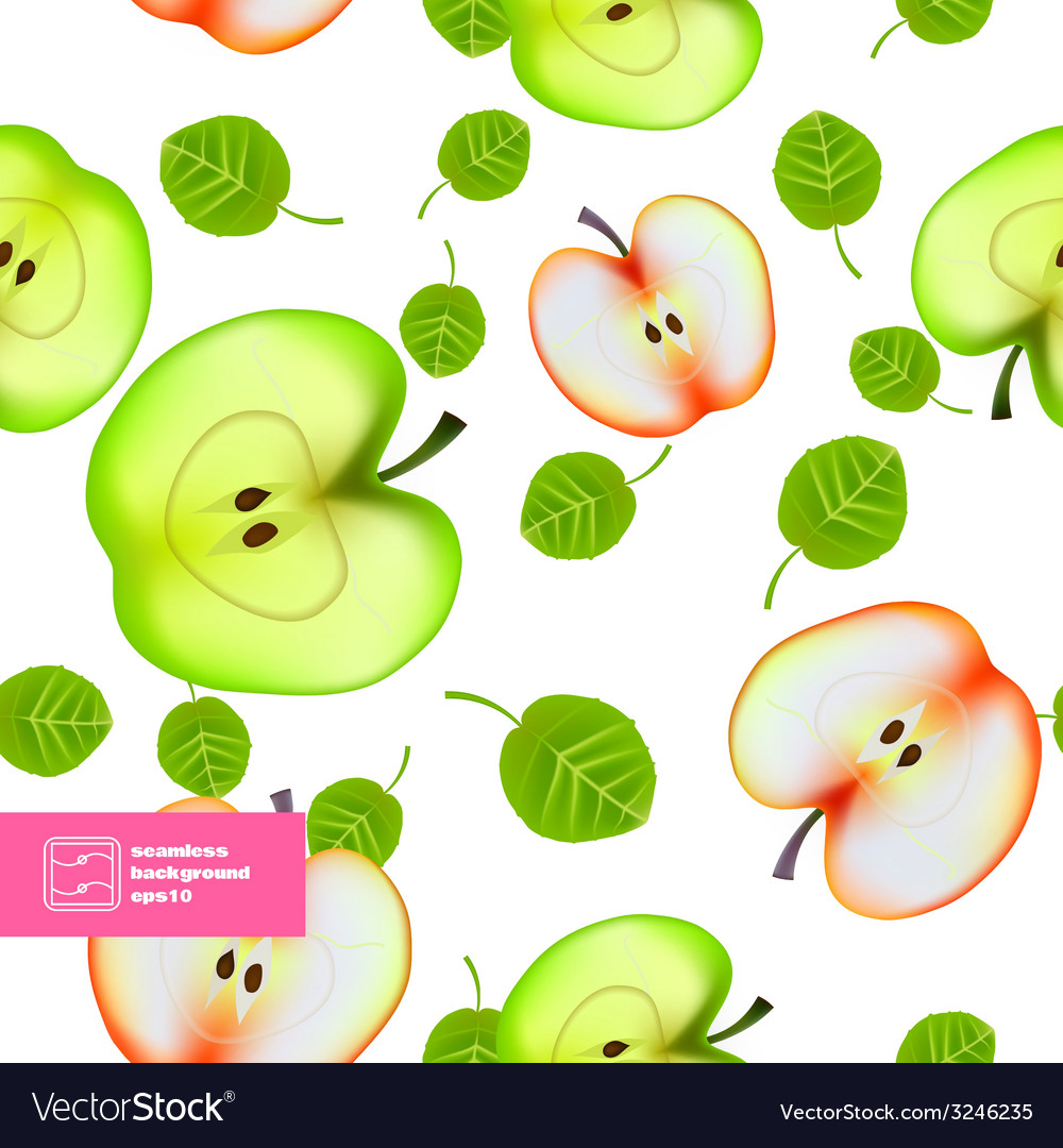 Slice of Apple Seamless Pattern vector image