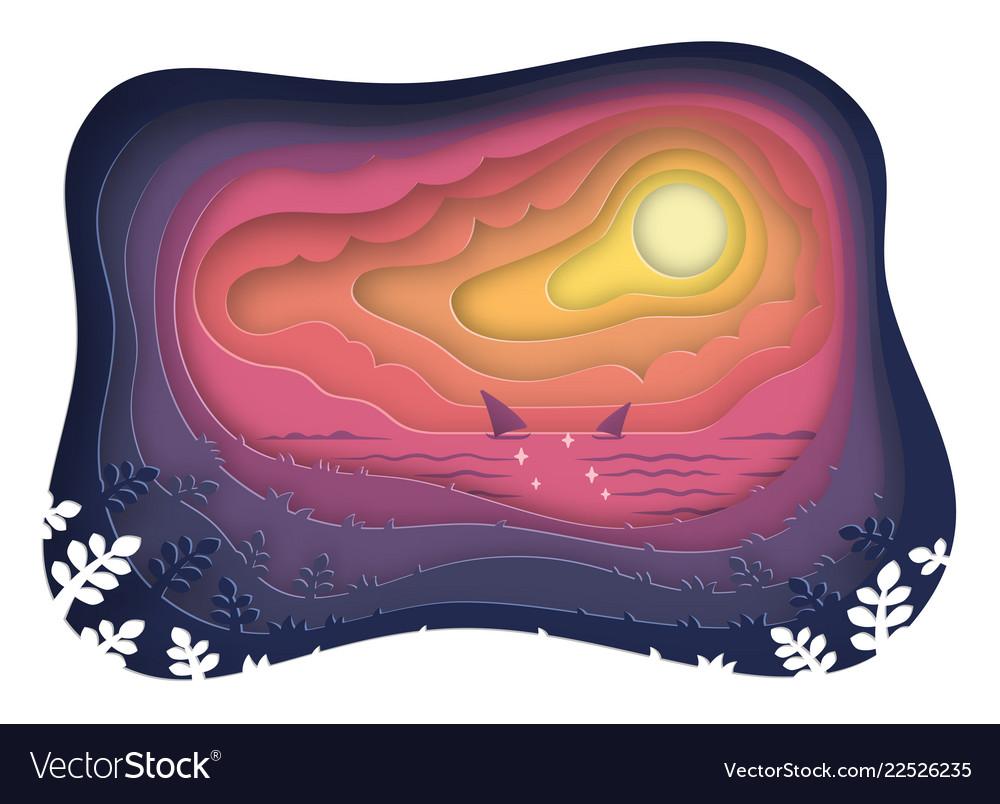 Sunset landscape paper art