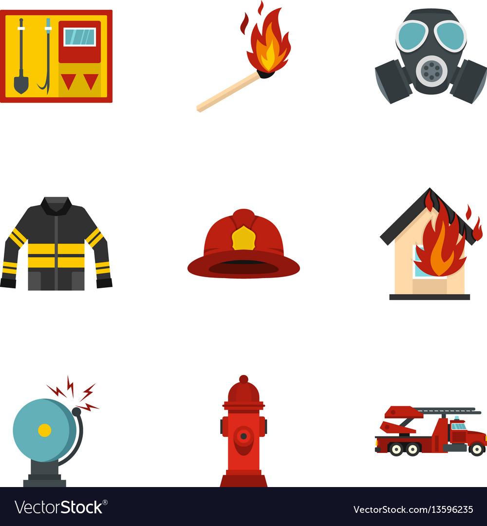Useful fire serivice icons set flat style