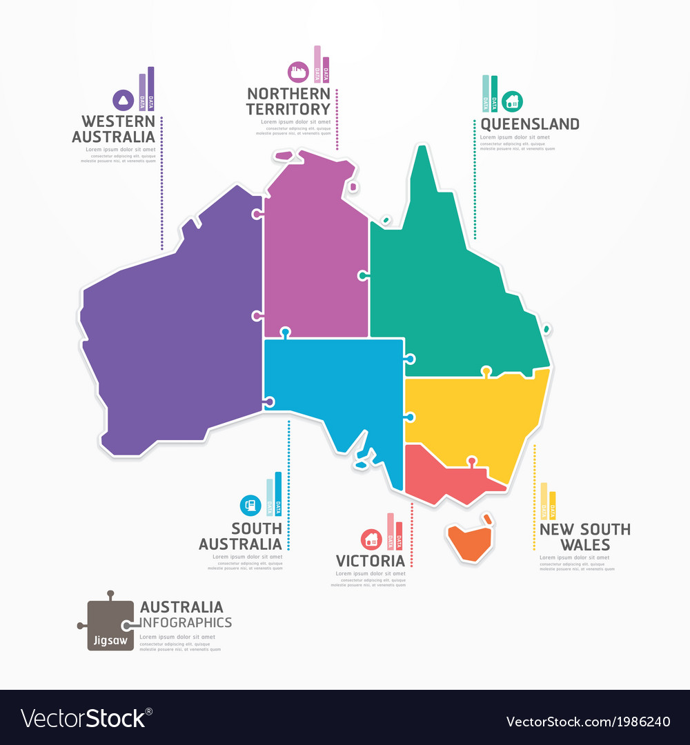 Australia Map Vector Ai.Australia Map Infographic Template Jigsaw Concept