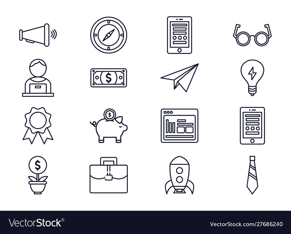 Business startup success icons set thick line