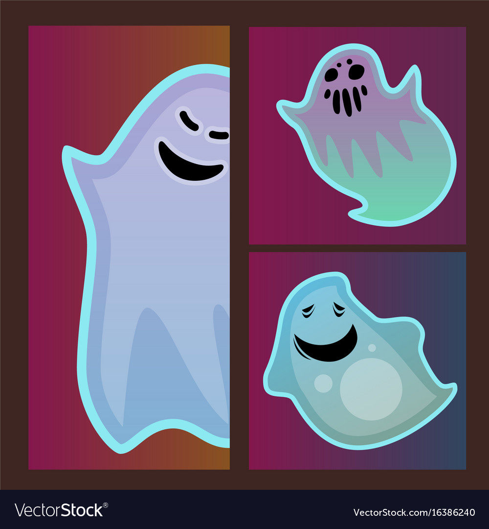 Cartoon spooky ghost character scary cards monster