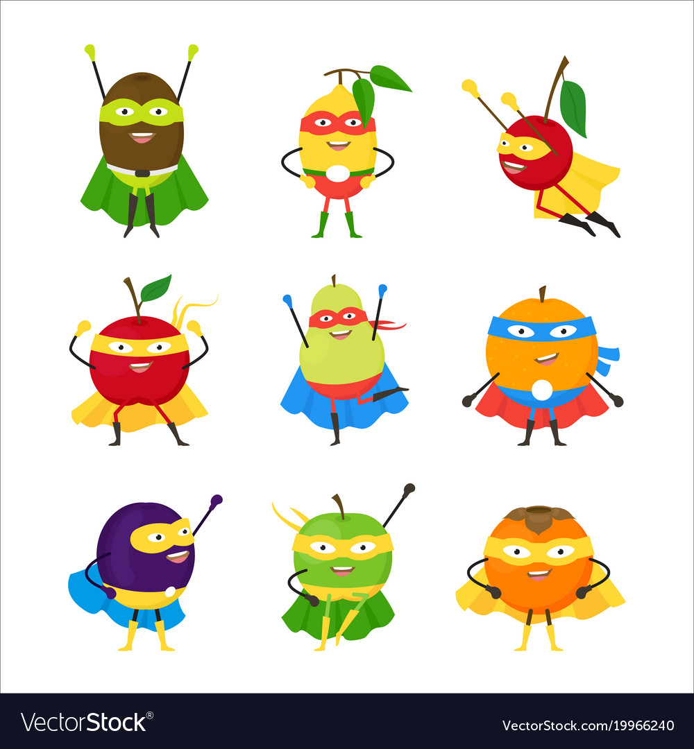 Cartoon vegetables superhero characters icon set
