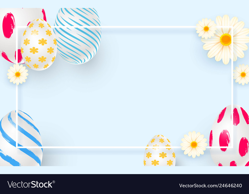 Easter holiday background with 3d easter eggs