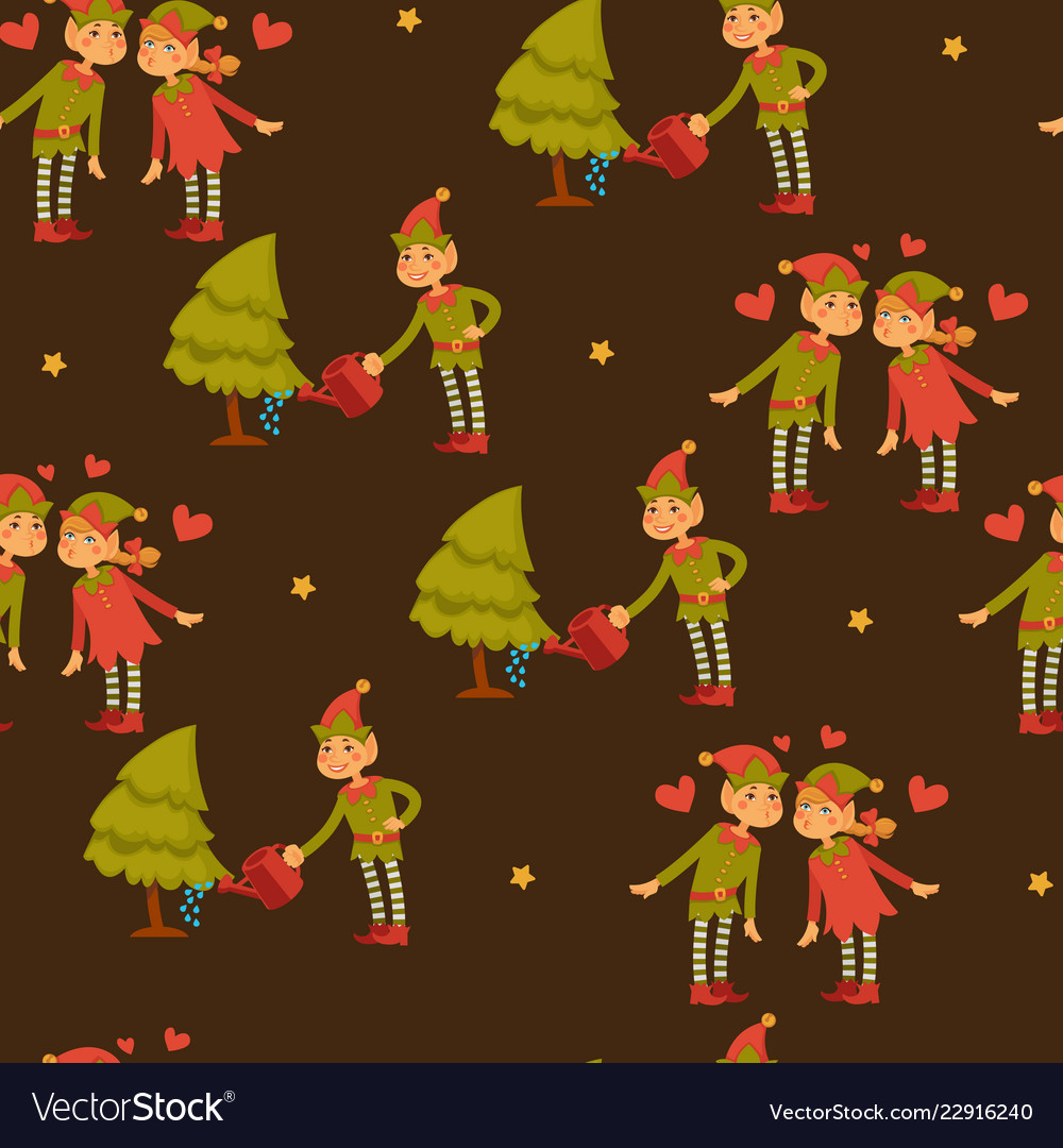 Elf male and female children in love santa claus