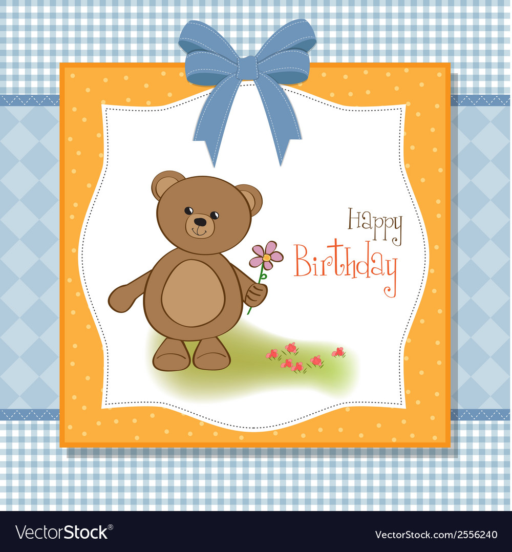 Happy Birthday Card With Teddy Bear And Flower Vector Image
