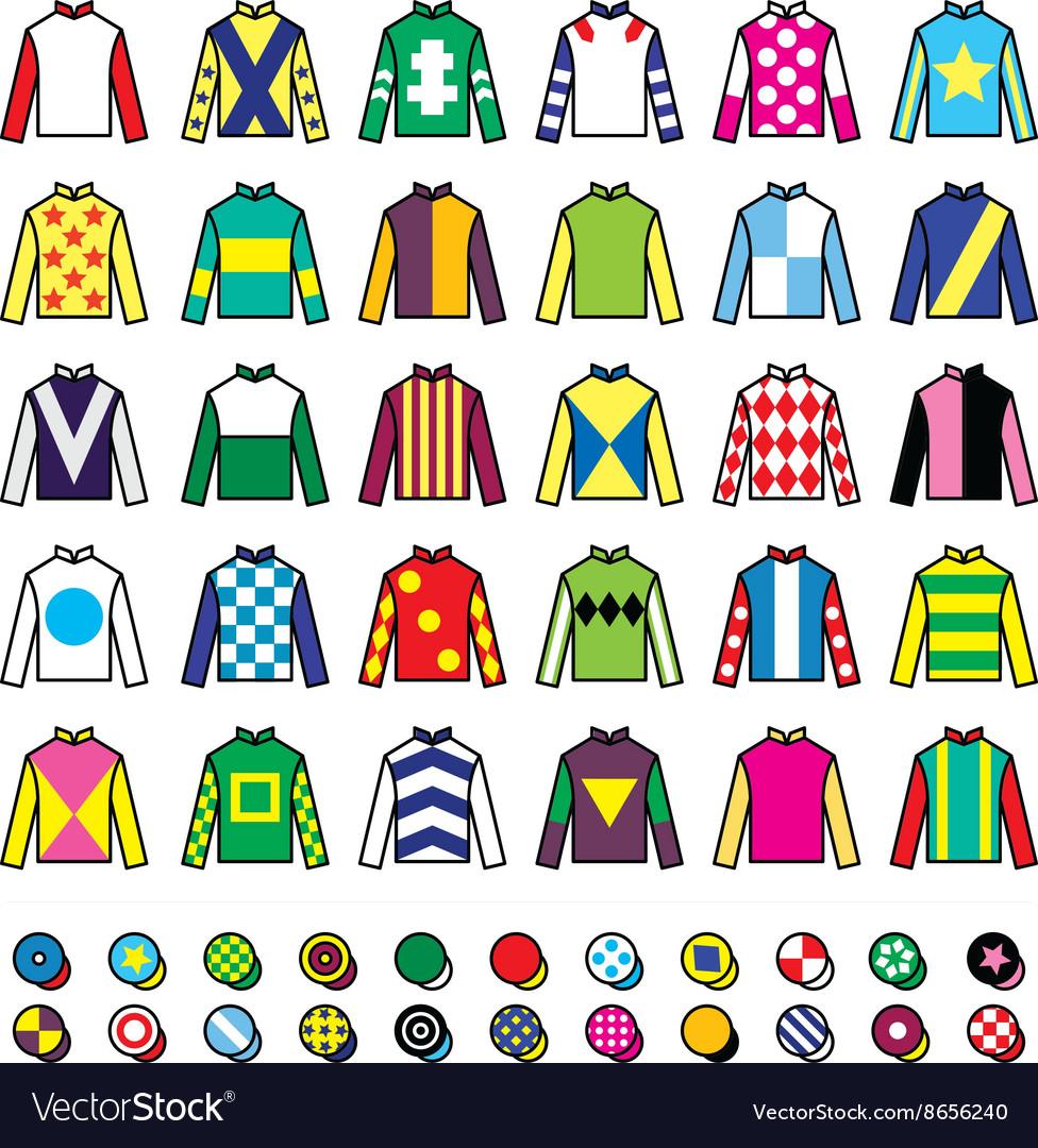 Jockey uniform - jackets silks and hats vector image