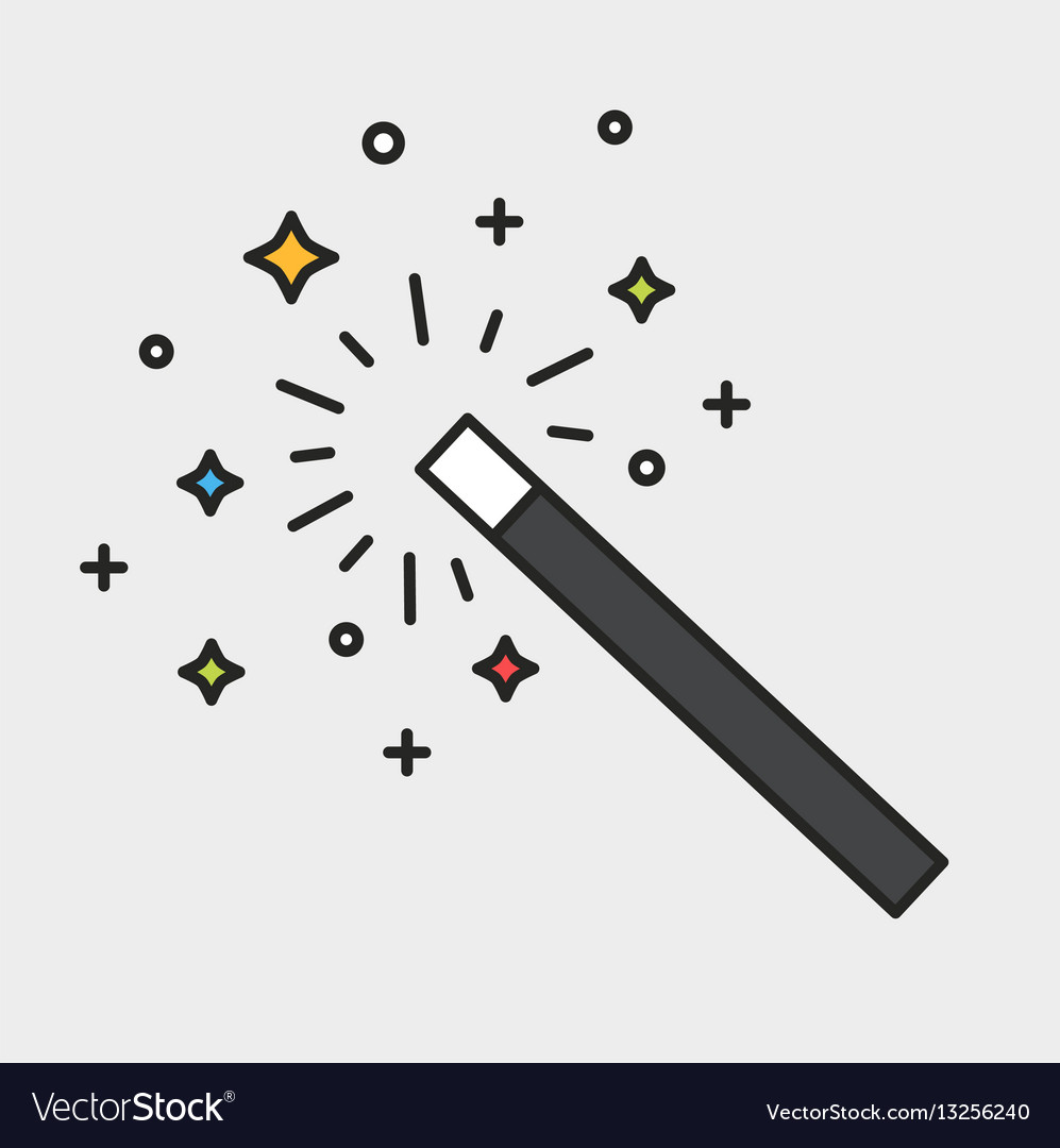 Magic wand and sparks black outline colorful icon vector image