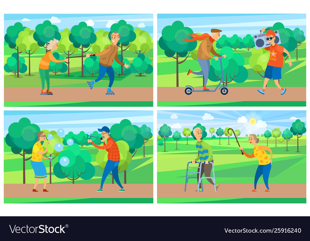 Old people in park activity grandparent