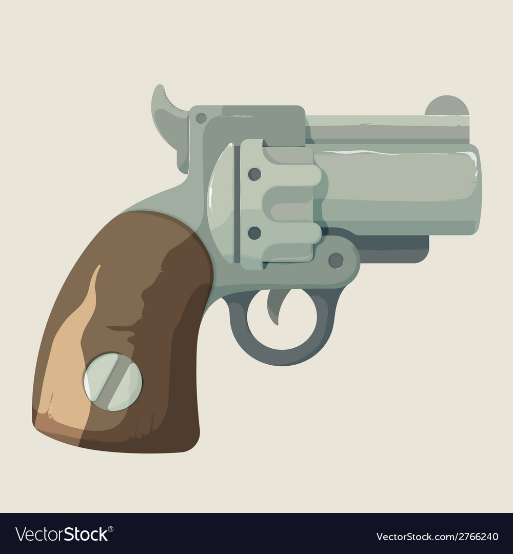 Old steel cowboy revolver isolated on light