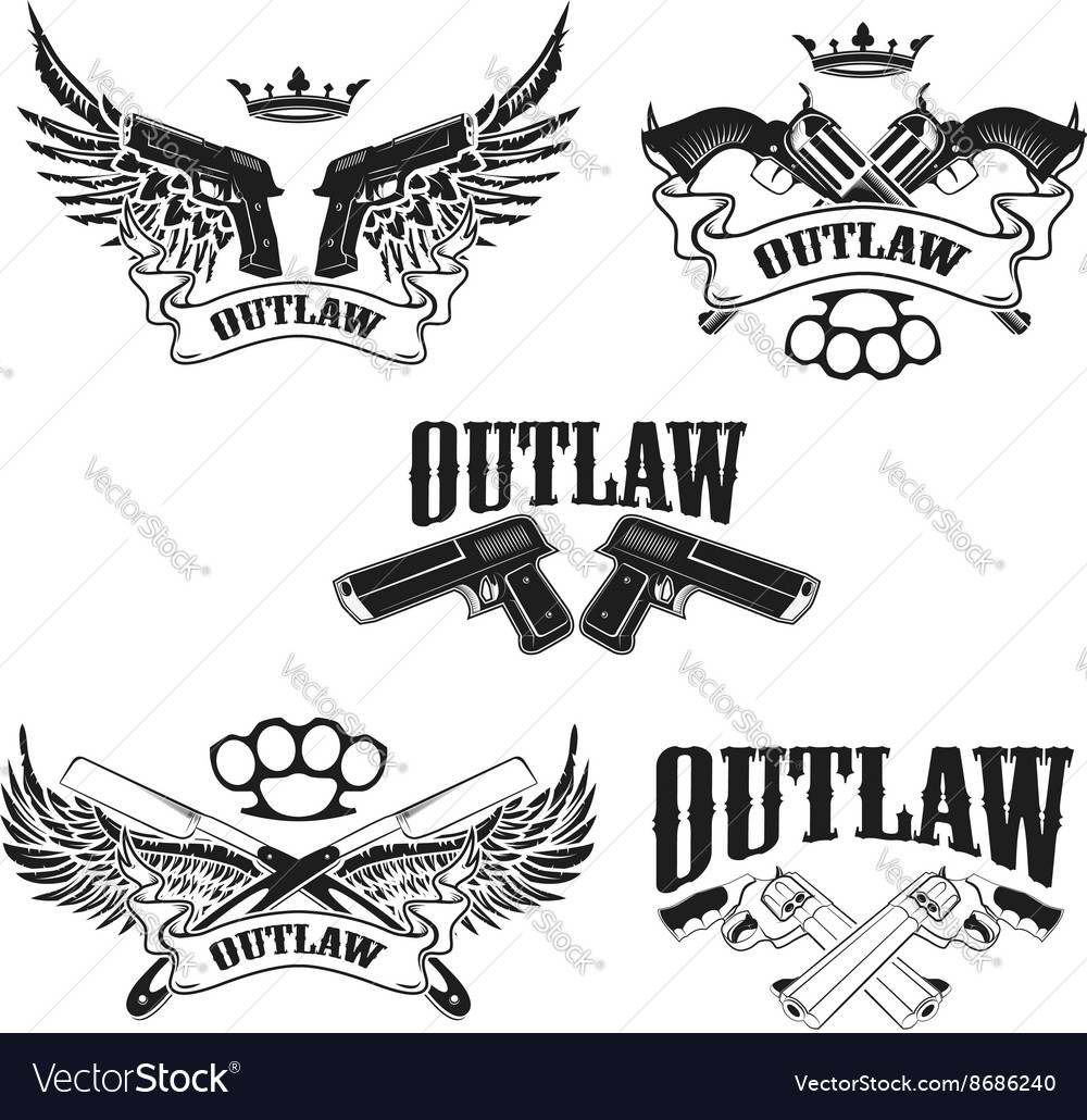 Set Of Outlaw Tshirt Print Design Templates Vector Image - T shirt graphic design template