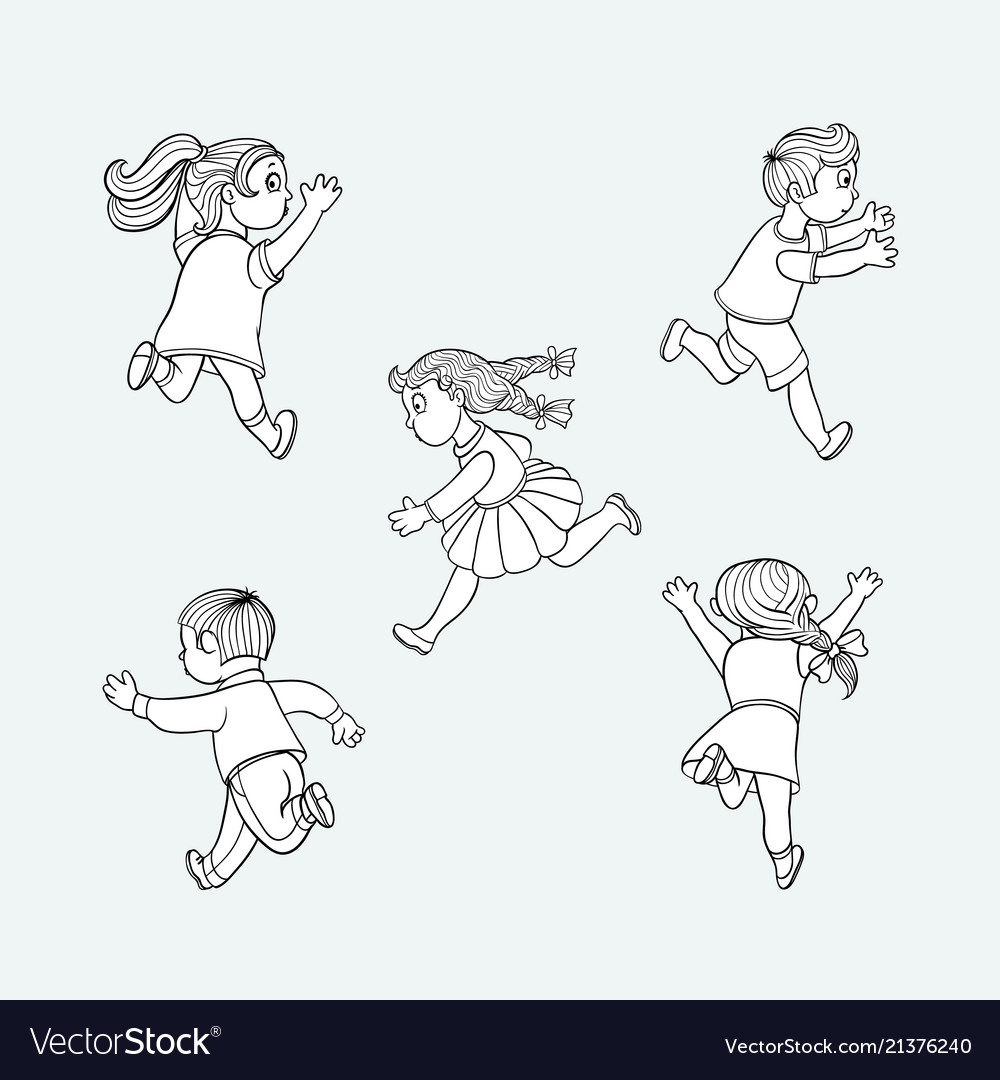 Sketch running ranaway kids set
