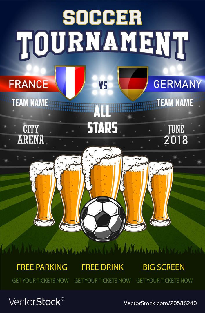Soccer with beer vector image