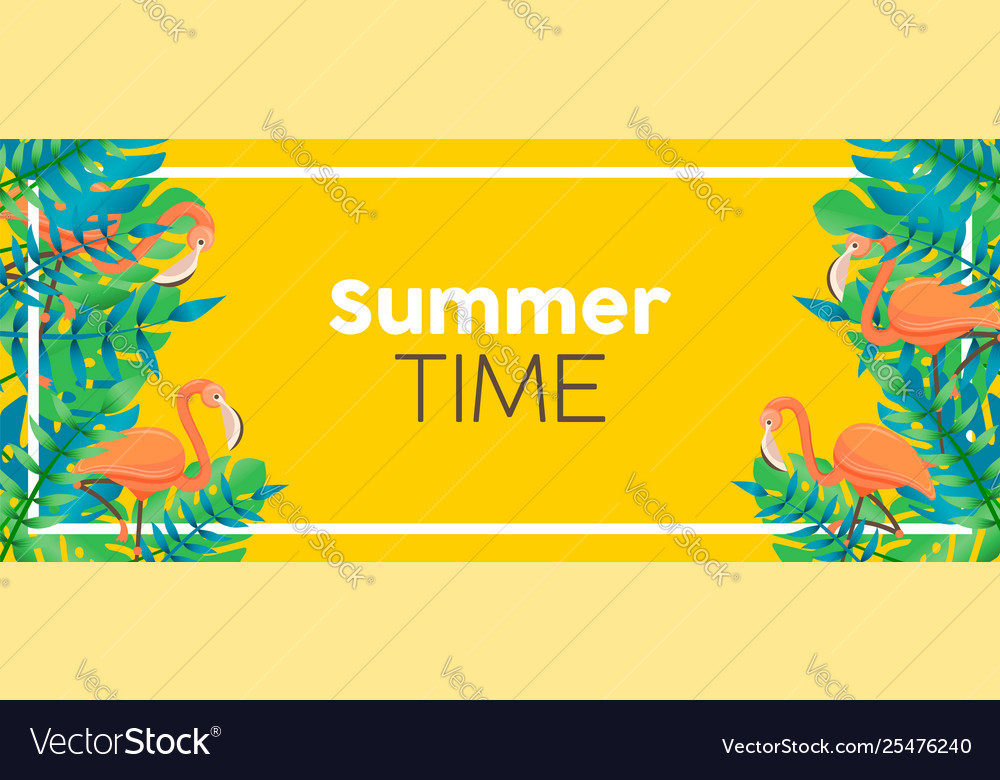 Tropical summer time banner flamingo and plants