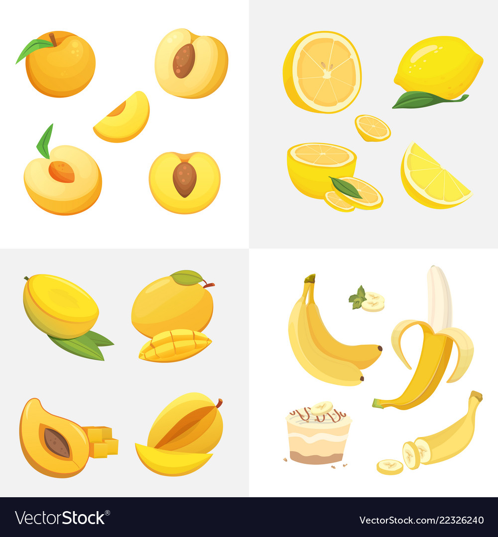 Vegetarian food icons in cartoon styleyellow